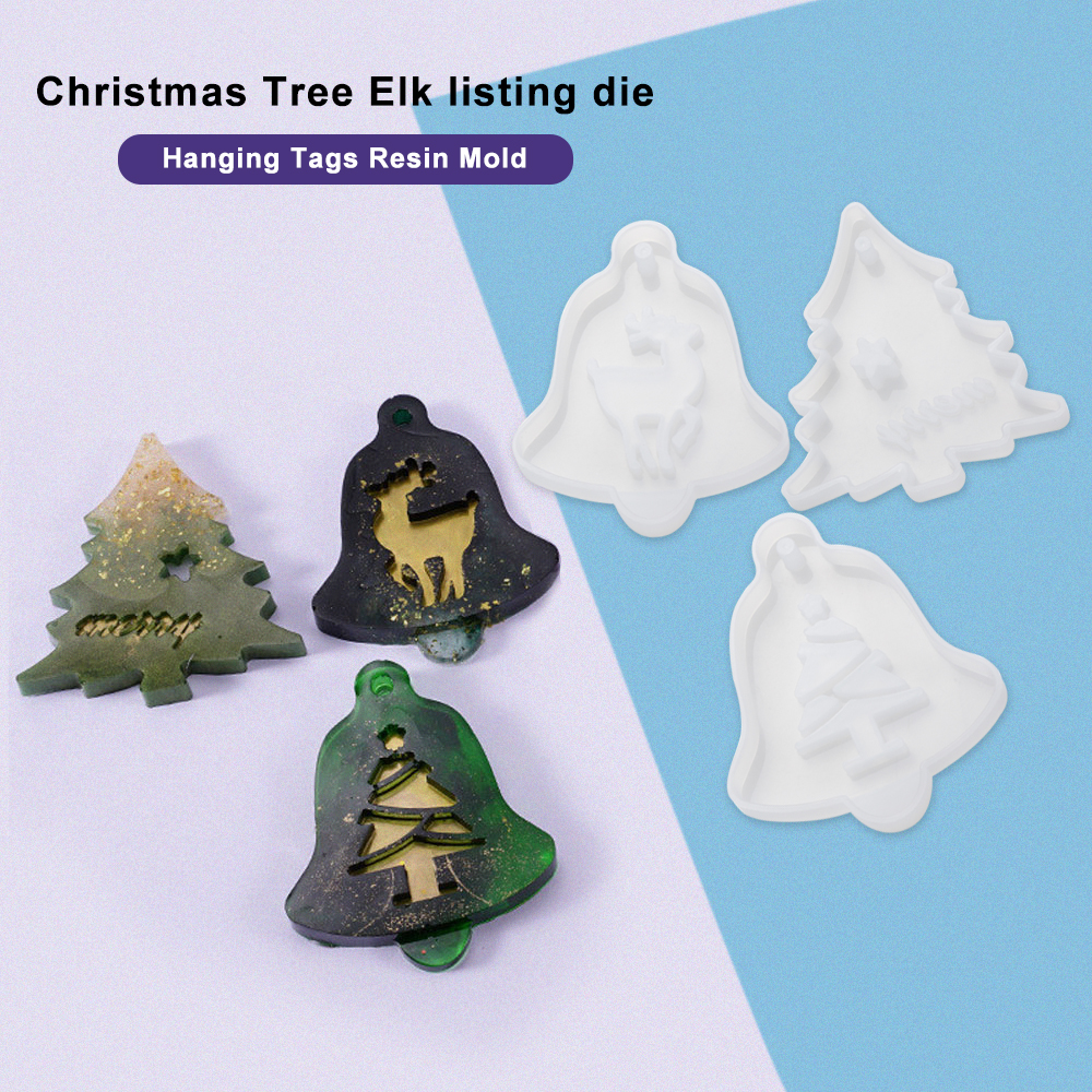 Christmas Hanging Tag Silicone Jewelry Mold Resin Epoxy Mould Casting Craft Tool