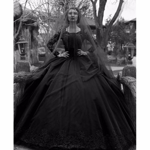 Image 1 - Black Gothic Wedding Dresses 2020 Long Sleeves Lace Beaded Tulle Princess Vintage Wedding Gown Colorful Robe De Mariee