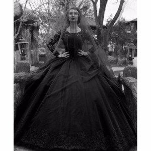 Image 1 - Robe De mariée gothique Vintage, à manches longues, en dentelle, Tulle, perles, Robe De mariée noire, colorée, 2020