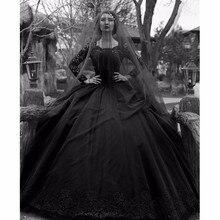 Zwarte Gothic Trouwjurken 2019 Lange Mouwen Lace Kralen Tulle Prinses Vintage Gown Wedding Kleurrijke Robe De Mariee