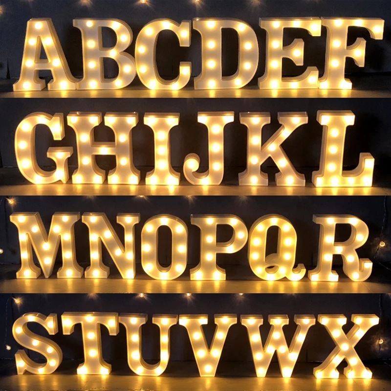 22CM LED Blub Marquee Letter Night Light Alphabet 3V AA Battery Home Culb Wall Decoration Party Wedding Birthday Decor DIY Gift