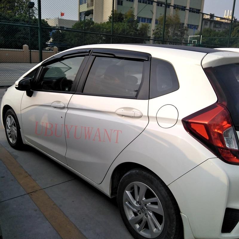 For Honda FIT JAZZ 2015 2016 2017 Plastic Black Window Visor Vent Shades Sun Rain Deflector Guard Auto Accessories 4PCS/SET Awnings & Shelters Automobiles & Motorcycles - title=