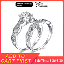 Brilliant Dazzling AAA Cubic Zirconia Bridal Engagement Wedding Ring Set For Women 925 Sterling Silver Band Ring Diamond Jewelry sinzry luxury jewelry aaa cubic zirconia brilliant waterdrop wedding chokers necklace earring set bridal jewelry set for women