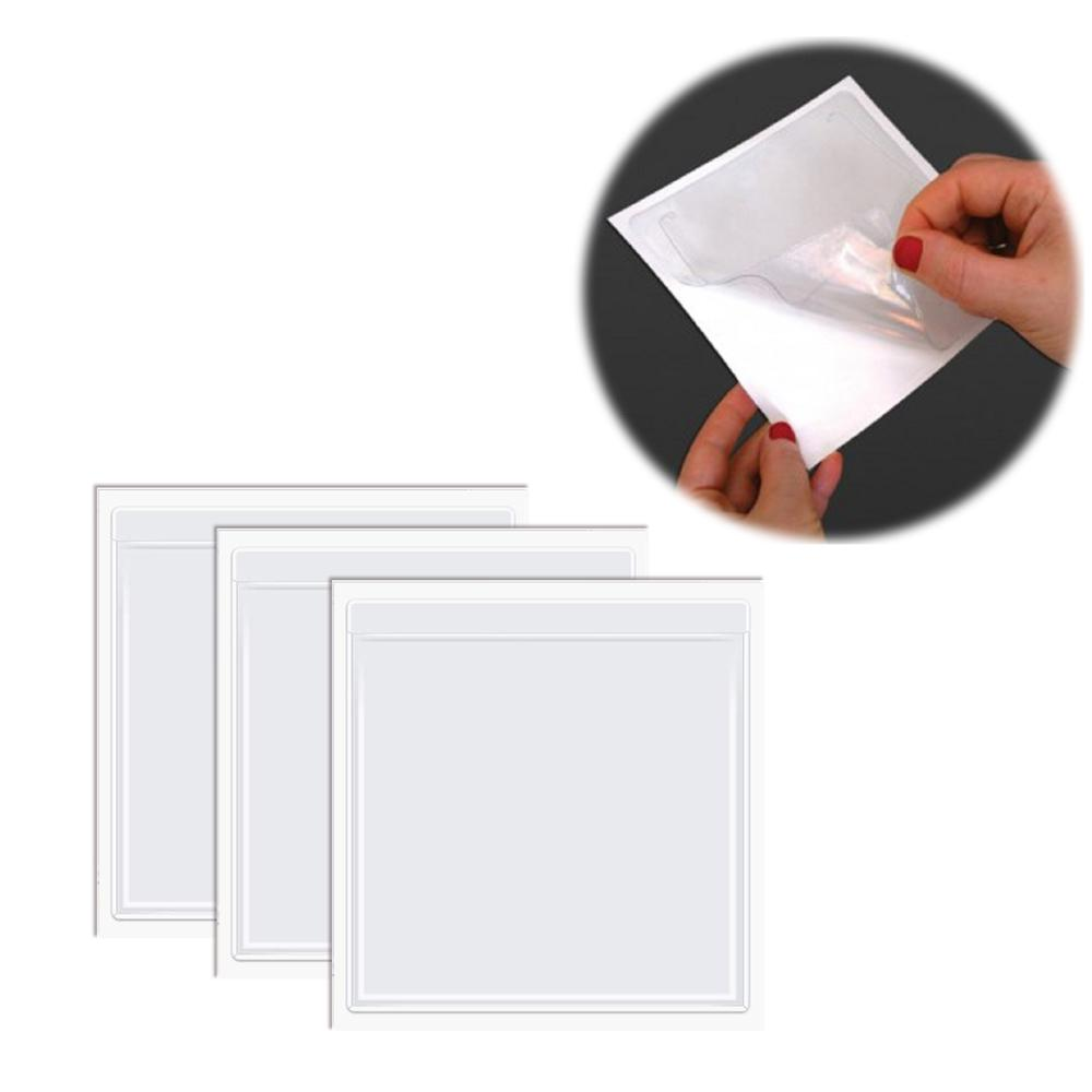 Crystal Clear Adhesive Vinyl Pockets Self-Adhesive Display Pockets File Notebook Pocket Sticker