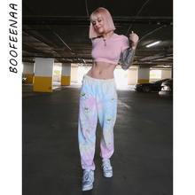 BOOFEENAA Daisy Tie Dye Trendy Sweatpants Women Casual Workout Clothes Streetwear High Waist Joggers 2020 Fashion Pants C16-AG47