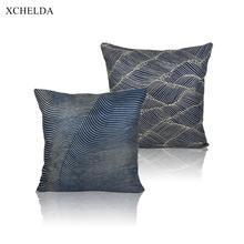 Funda de almohada de algodón Vintage, funda de almohada decorativa de diseño azul 45*45 40*40 para sofá coche dormitorio Beige, funda de cojín de lino de piel