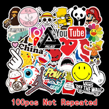100 PCS Skateboard Fashion brand Logo Waterproof Sticker For Luggage Car Guaitar
