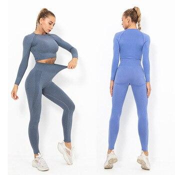 Conjunto de Yoga sin costuras, chándal para mujer, ropa de gimnasio, conjunto deportivo, ropa de Fitness, traje de entrenamiento, traje de Yoga, ropa deportiva de manga larga