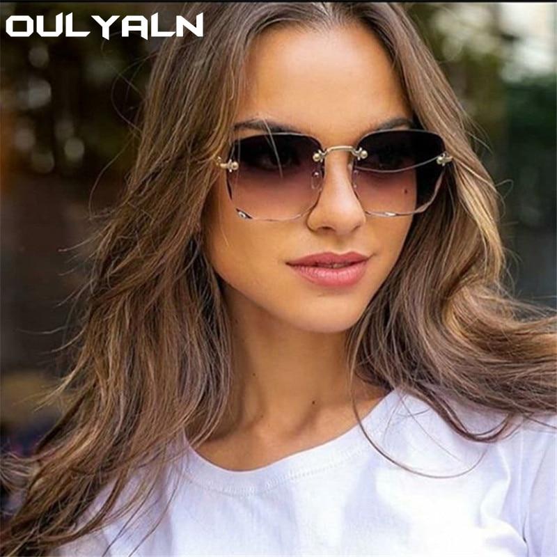 Oulylan Women Rimless Sunglasses Luxury Square Sun Glasses Female Fashion Oversized Eyewear Pink Gradient Shades Goggles UV400