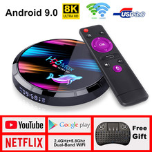 TV Box H96 max Android TV Box Netflix Youtube HD 8K LEMADO TV Box Android 9.0 Google Voice Assistant H96 max X3 Smart Tv Box(China)