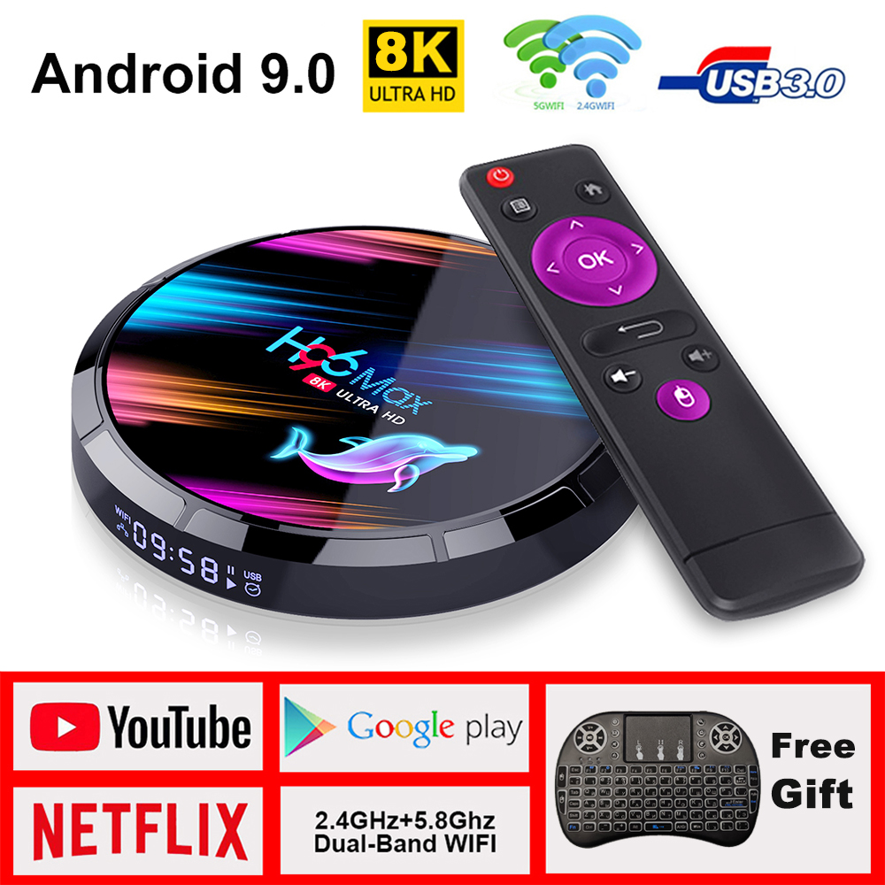 Tv Box H96 max Android tv Box Netflix Youtube HD 8K LEMADO tv Box Android 9,0 Google голосовой помощник H96 max X3 Smart tv Box