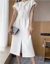 New Summer Women Solid Color Elegant Vestidos White Party Bodycon Work Office Lady Female slim Dress