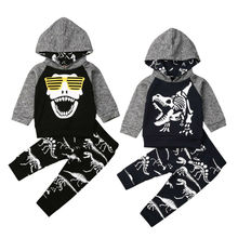 цена на Baby Boy Clothes Autumn Toddler Infant Baby Boy Hooded Outfits Animal Long Sleeve Tops Pants Clothes Dinosaur Cartoon Set