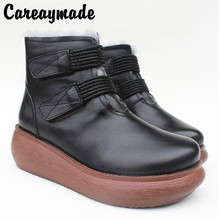 Careaymade-New Leather,Pure Wool Warming Shoes,Sheepskin and Fur, Original Snow Shoes and Shoes for Women in Winter boots cowhide wool and fur in one boots snow boots