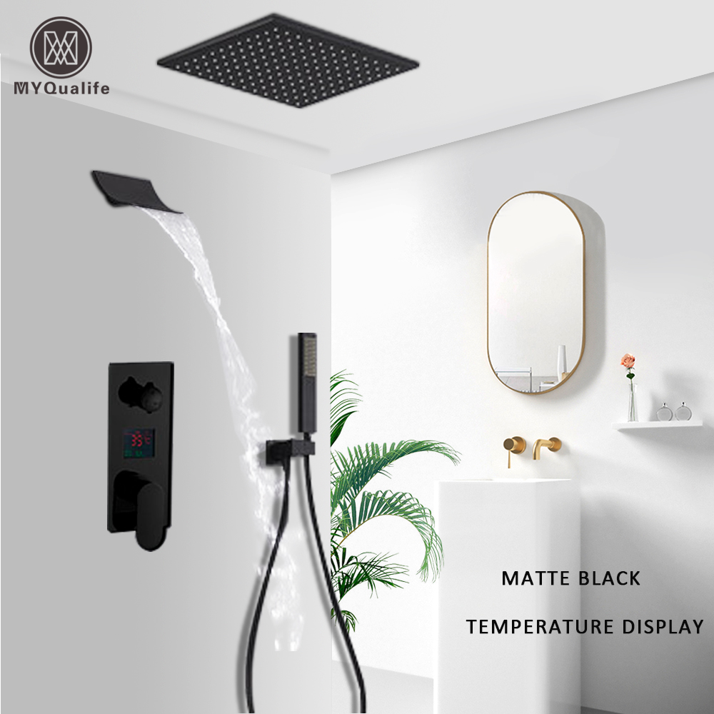 Waterfall Matte Black Bathroom Shower Faucet Black Digital Shower Faucets Set Rainfall Shower Head Digital Display Recommended Products Cards Carousel