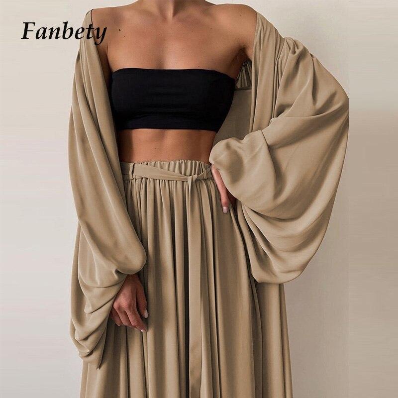 Women Elegant Lantern Sleeve Cardigan Tops+Wide Leg Pants Suits 2021 Spring Casual Loose Three Piece Set Ladies Fashion Homewear