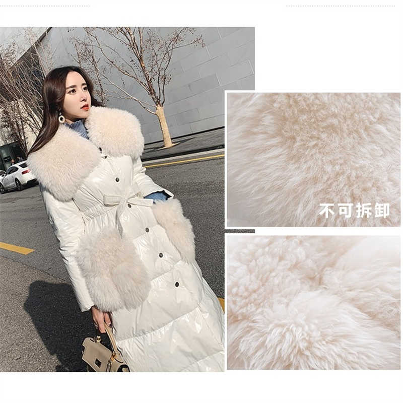 Зимняя парка большой меховой воротник пуховик женский 2019 Яркий длинный пуховик хлопковое пальто толстое теплое пальто Женская куртка с хлопковой подкладкой