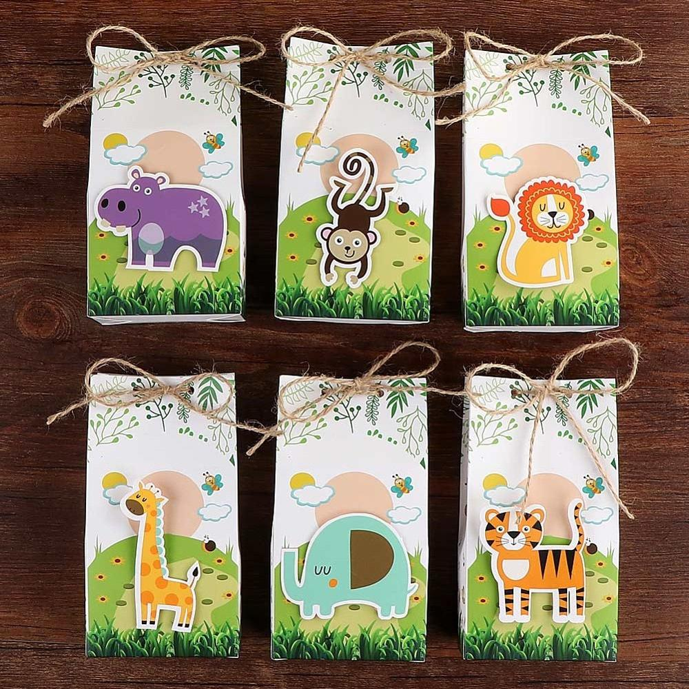 OurWarm 6pcs Animals Party Paper Candy Gift Box Burlap Dessert Bag Gifts For Guests Kids Jungle Party Favor Birthday Decoration