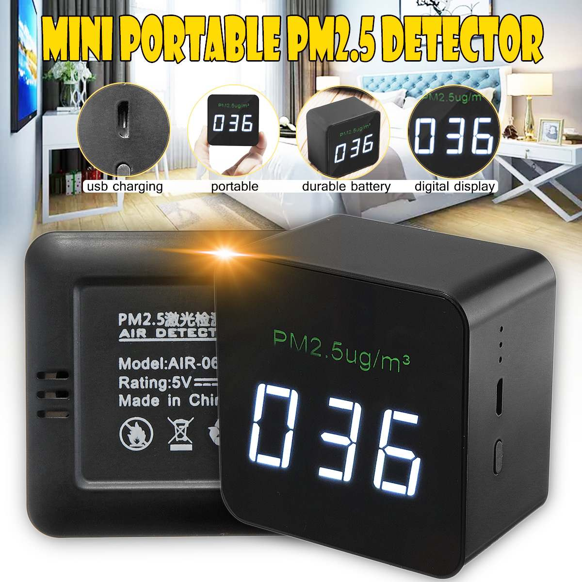 Air Quality Detector Laser PM2.5 Detectors air quality monitor Tester Rechargeable