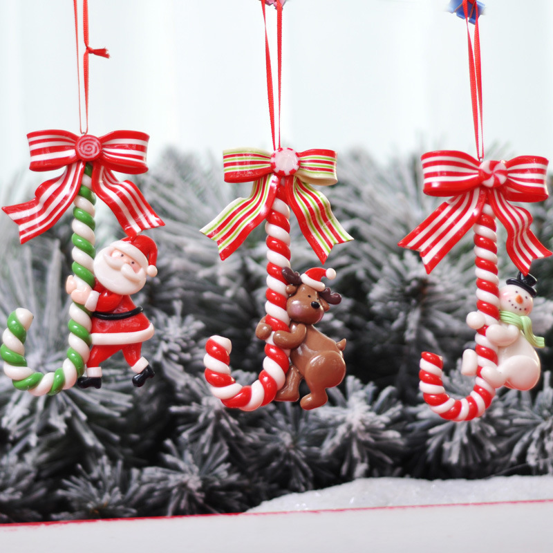Christmas Festival Decoration Santa Claus Snowman Small Crutch Candy Bar Ornaments ChristmasTree Layout Bracelet Charm party2021