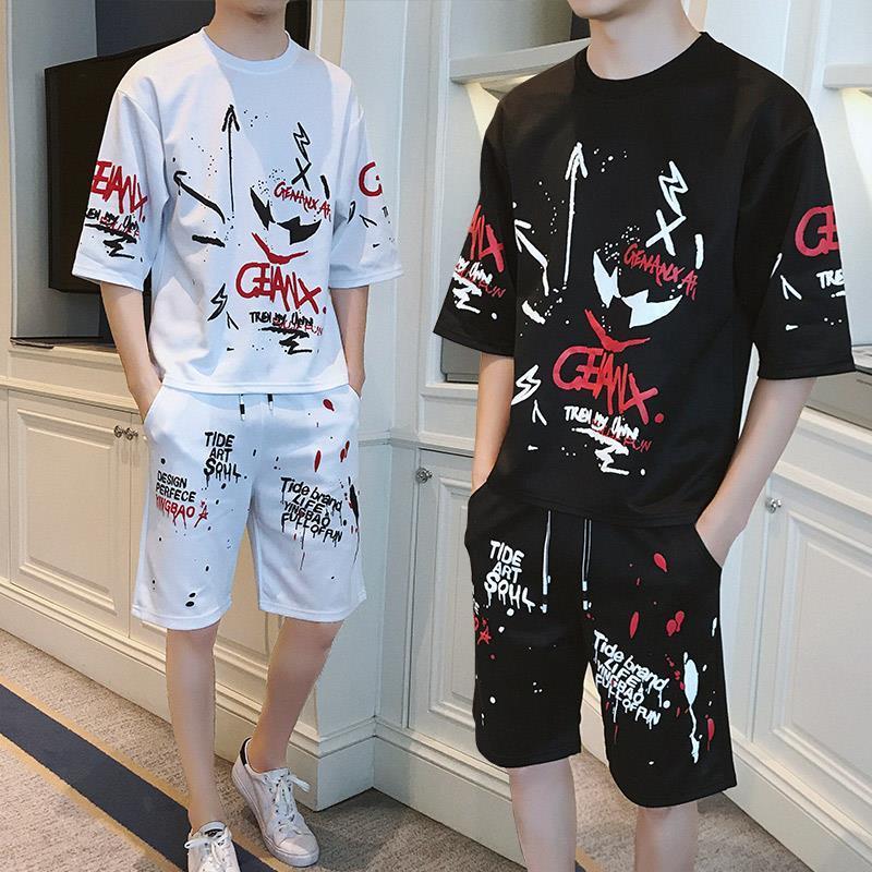Hip Hop T Shirt Summer Men Tshirt Streetwear Set Short Sleeve Boy T-shirt Korean Style Loose Trendy Clothes Handsome 2020 New