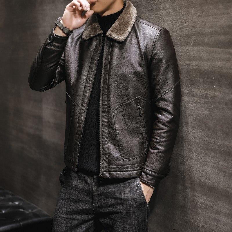 Winter Leather Coat Men's 2019 New Style Middle-aged Fold-down Collar Plus Velvet Fur Plus-sized MEN'S Leather Coat Fashion