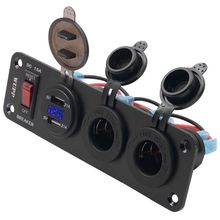 12V 24V Boat Truck Car Dual USB Charger Port 2 Cigarette Lighter Power Socket Panel With 15A ON OFF Switch for Mobile Phone GPS