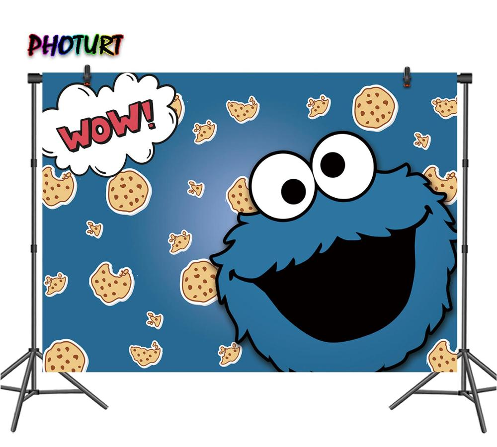 Photurt Sesame Street Biru Cookie Monster Fotografi Backdrop Pesta Ulang Tahun Baby Shower Latar Belakang Vinyl Foto Studio Alat Peraga Background Aliexpress