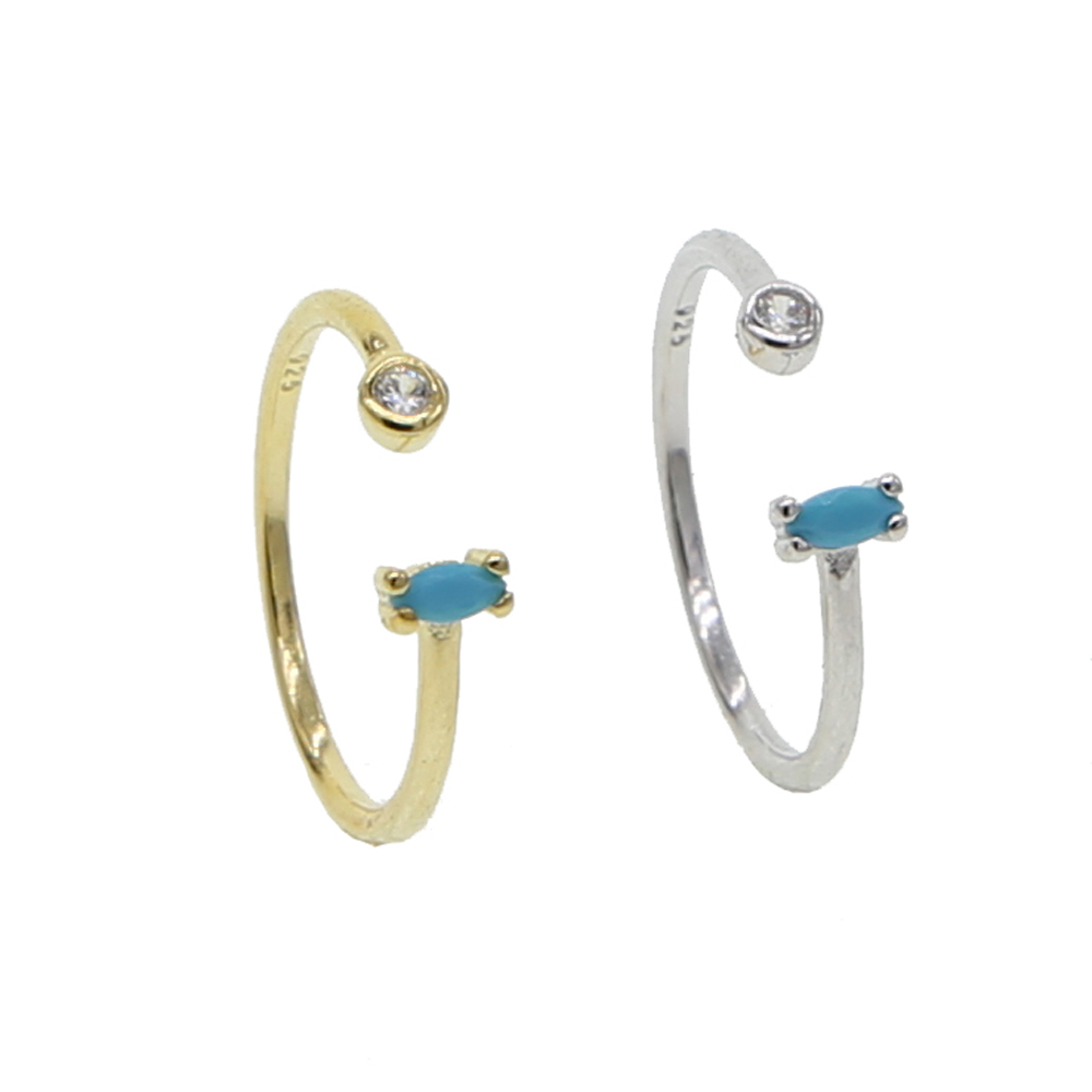 classic size 6 7 8 GOLD SILVER COLOR 925 sterling silver midi open simple women rings delicate turquoises drop-shaped cz rings