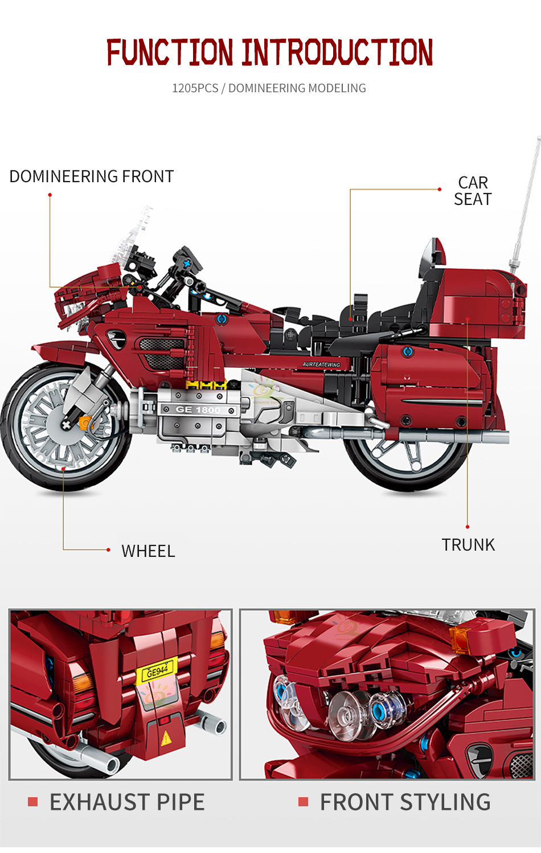 "конструктор huiqibao ""туристический мотоцикл"", 1205 шт."