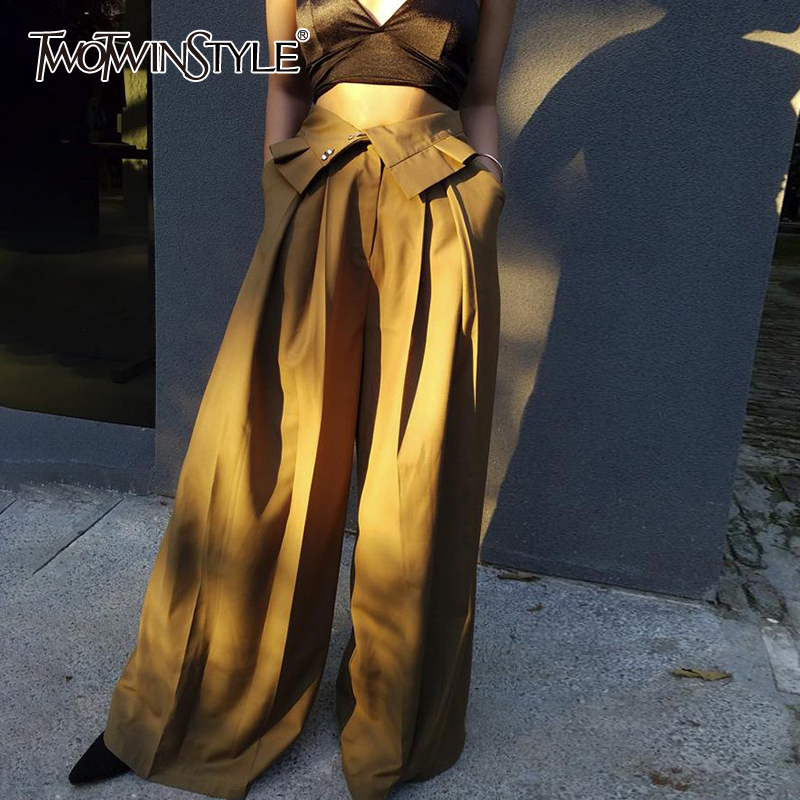 TWOTWINSTYLE Elegant Loose Women Full Length Pants High Waist Tunic Patchwork Ruffles Pleated Wide Leg Pant For Female Clothing