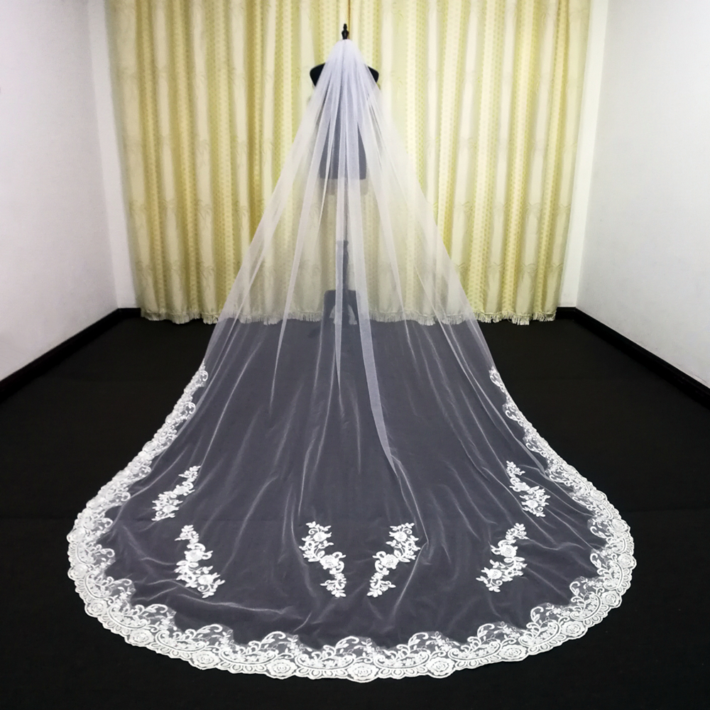 3M One Layer Lace Edge White Ivory Cathedral Wedding Veil Bridal Veil  Wedding Accessories with Metal comb Veu de Noiva