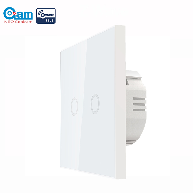 NEO COOLCAM Smart Home Z-wave Plus Wall Light Switch 2CH Gang Home Automation Z Wave Wireless Smart Remote Control Light Switch