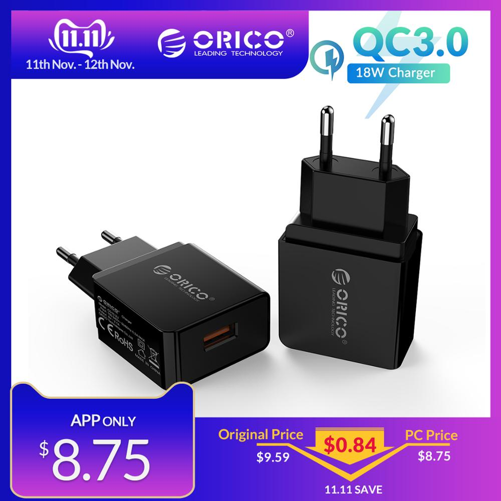ORICO 18W QC 3.0 2.0 USB Travel Charger Phone Quick EU Plug Wall Adapter For Xiaomi iPhone Samsung Huawei