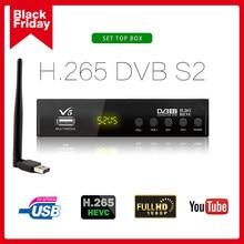 DVB-S2 v5 receptor de satélite caixa tv digital sintonizador suporte hd h.265 ac3 dvb s2 receptor wi-fi captura usb