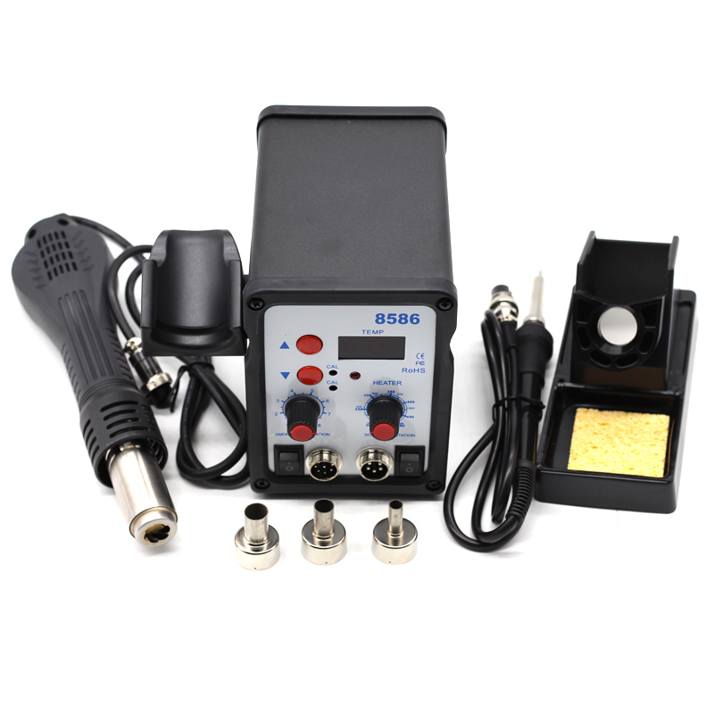 Yarboly 8586 580W 2 In 1 SMD Rework Soldering Station Hot Air Blowe Heat Gun + Soldering Iron For Welding Repair Tools Kit