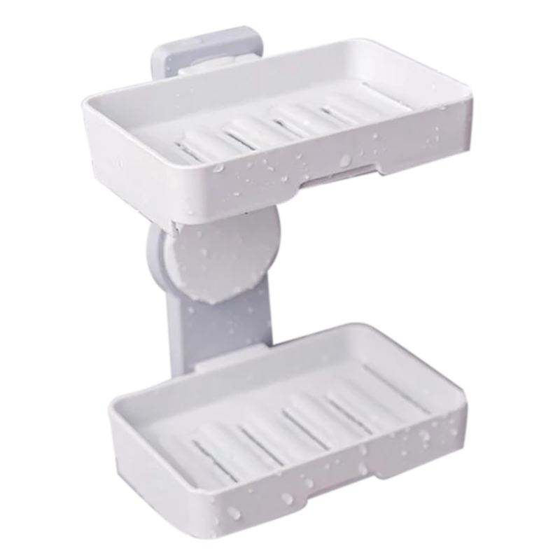 Double Layers Powerful Suction Cup Soap Dish Holder Wall Mounted For Bathroom Shower Soap Holder Saver Box Storage Organizer Rac