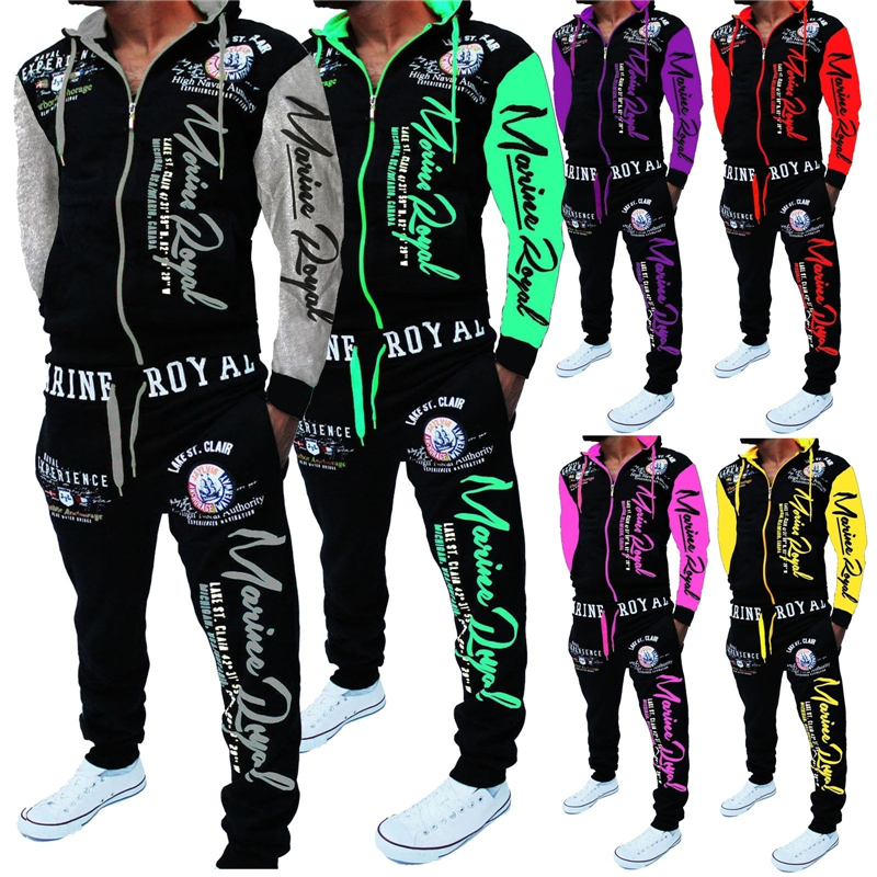 Men Track Suit Hooded Jacket Sweatsuit Mens Sports Suits Brand New Sportwear Men Jogger Set Printed Tracksuit Men Clothes 2019