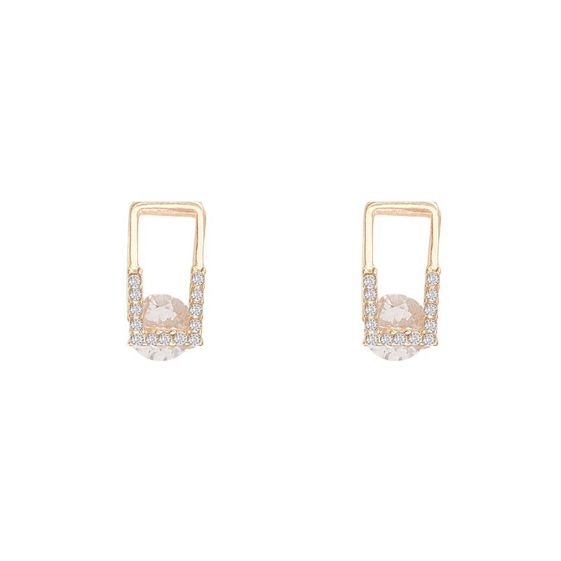 Korean New Geometric Rectangular Earrings Fashion Temperament Small Simple Earrings Elegant Women's Jewelry