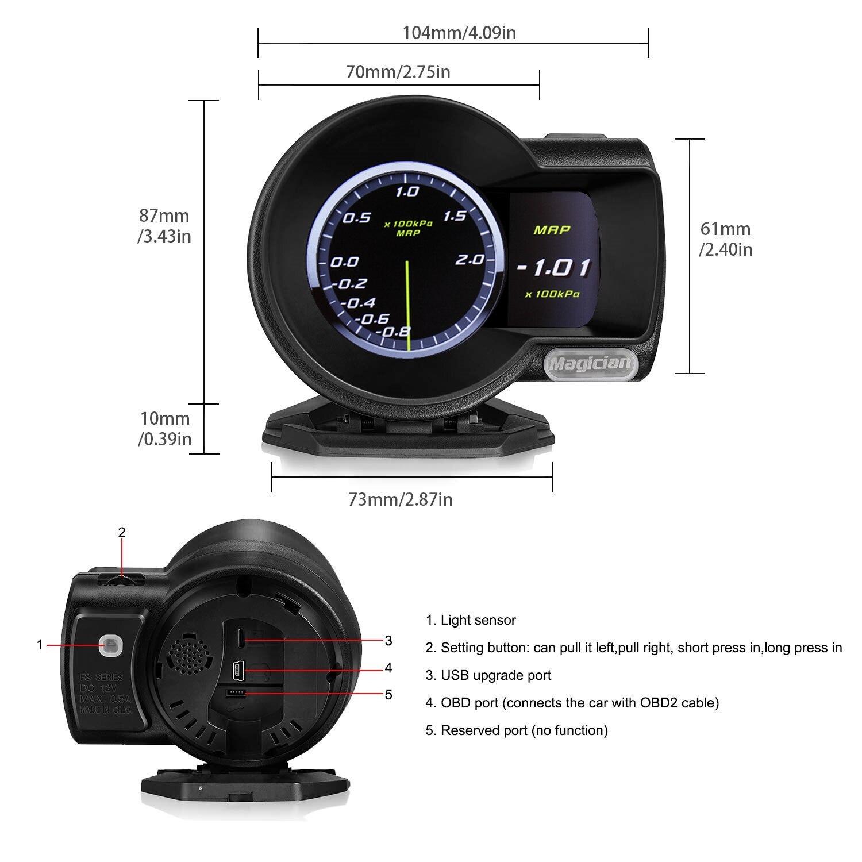 Профессиональный фокусник OBD2 F835 дисплей на голову Автомобильный цифровой датчик повышения напряжения измеритель скорости температура вод...