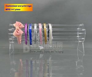 Image 2 - Neueste 30cm & 50cm Lange Acryl Headwear Display Rack Stirnband Zeigt Stand Haar Zubehör Halter Schmuck Schaufenster Abnehmbare