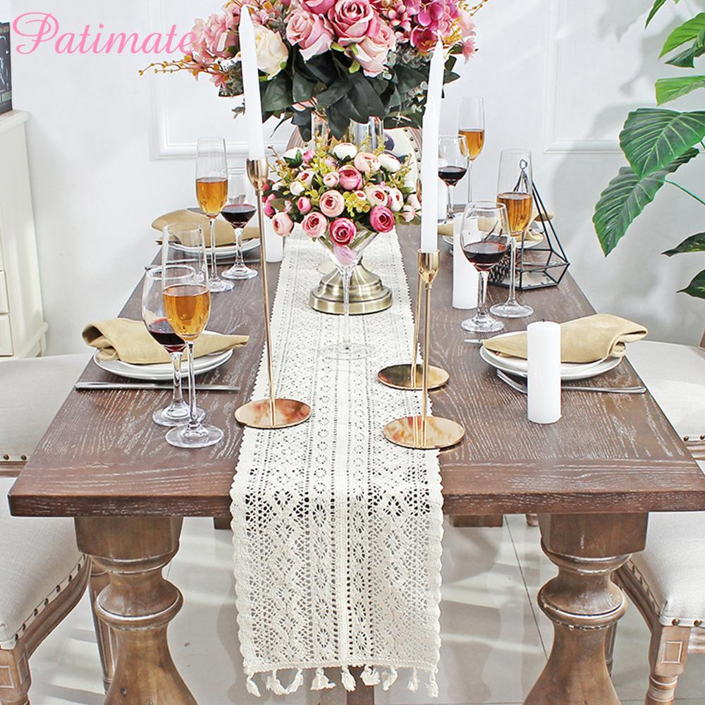 PATIMATE White Wedding Table Runner With Tassel Party Decoration Rustic Cover Bride Supplies