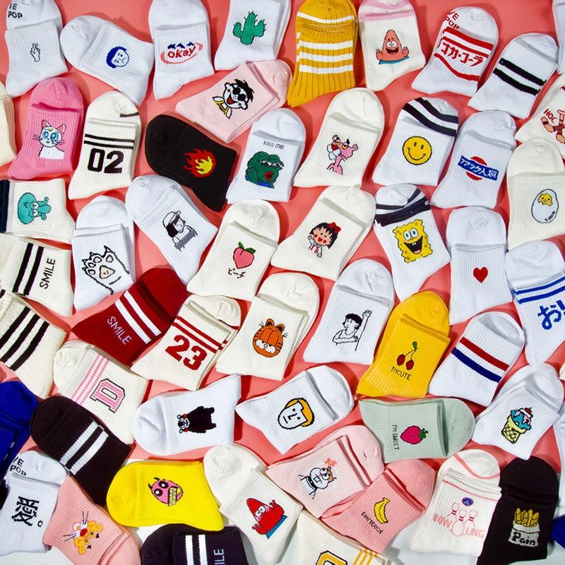 CHAOZHU Korea Japanese Fashion Funny Cartoon Causal Socks Autumn Winter Women White Swag Cool 80s 90s Aesthetic Modern Footwear