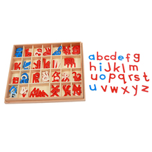 Baby Toy Montessori Wood Small Movable Alphabet Red & Blue with Box Preschool Early Child Brinquedos Juguetes montessori language toys exercise large movable alphabet capital box preschool teaching kids educational toy beech wood la024 q3