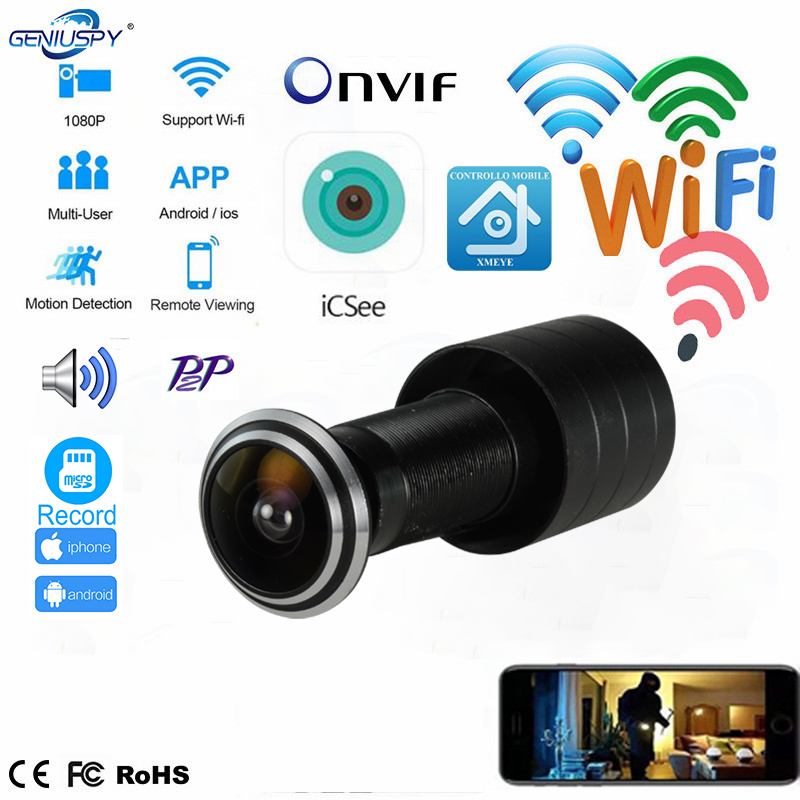 Door Eye Hole Security 1080P HD Onvif 1.78mm Lens Wide Angle FishEye CCTV Network Mini Peephole Door WifI P Camera P2P TF Card