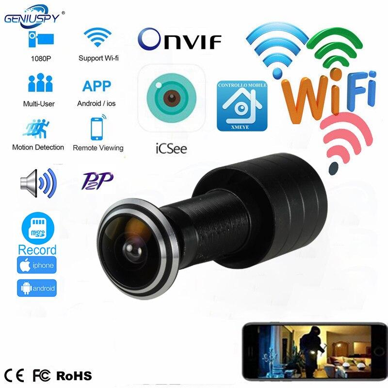 Porte oeil trou sécurité 1080P HD Onvif 1.78mm objectif grand Angle FishEye CCTV réseau Mini judas porte WifI P caméra P2P TF carte