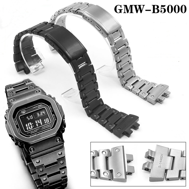 GMW B5000 시계 밴드 베젤/케이스 금속 스트랩 스틸 팔찌 도구와 높은 수준의 316l 스테인레스 스틸 휴가를위한 5 색 선물