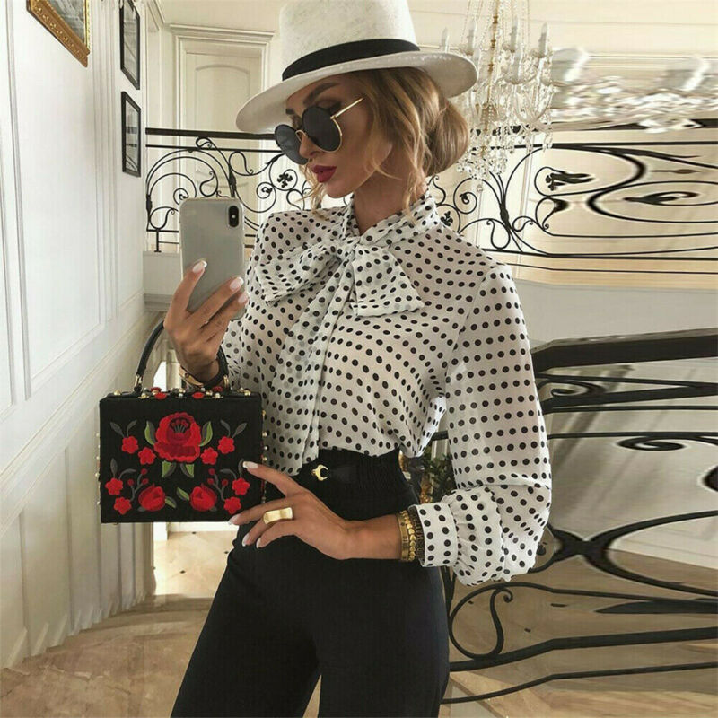Office Lady Women Sexy Chic Blouse Elegant Long Sleeve Bandage Tops Sheer Mesh Polka Dot Casual