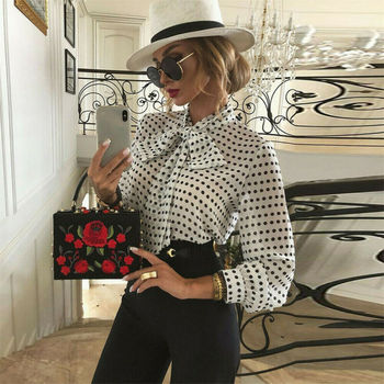 Office Lady Women Sexy Chic Blouse Elegant Long Sleeve Bandage Tops Sheer Mesh Polka Dot Casual 2020 women elegant fashion black polka dot patchwork sheer shirt female top casual brief dot sheer mesh yoke casual blouse