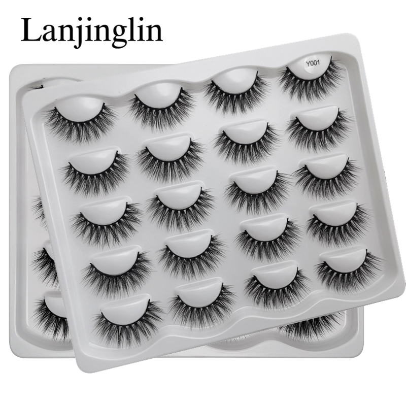 LANJINGLIN 10 Pairs Sexy Faux Mink Lashes Dramatic Reusable False Eyelashes Book Wispy Fluffy Eyelash Natural Cilios Make Up